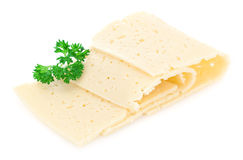 Cheese slices with parsley. Royalty Free Stock Image