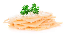 Cheese slices with parsley. Royalty Free Stock Images