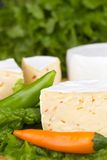 Cheese with slices of pepper on lettuce background Royalty Free Stock Photography