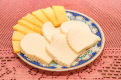 Cheese slices on plate Royalty Free Stock Image