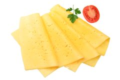 cheese slices with tomato and parsley isolated on white background. top view stock photo