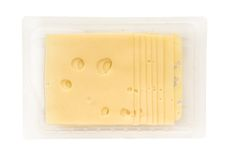 Cheese slices  on white Stock Images