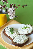 Cheese snack on rye bread royalty free stock photo