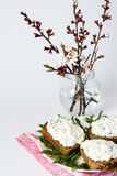 Cheese snack on rye bread and bouquet stock image