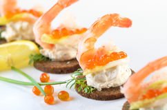 Cheese snacks with prawns Stock Photography