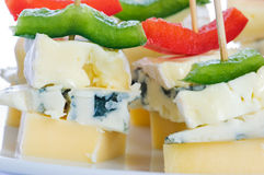 Cheese snacks with three kinds of cheese Stock Photography