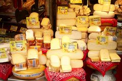 Cheese sold in a market in Amsterdam stock image