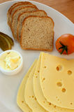 Cheese, some bread and tomato Royalty Free Stock Photography