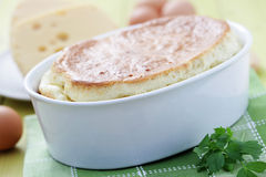 Cheese souffle. Delicious cheese souffle with cheese and eggs - food and drink Royalty Free Stock Photo