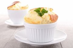 Cheese souffle. Appetizer, gourmet hot cheese souffle Royalty Free Stock Photos