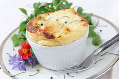 Cheese Souffle Served In Ramekin. With Herbs Royalty Free Stock Image