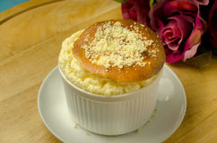 Cheese souffle on table Royalty Free Stock Image