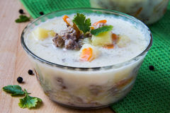 Cheese soup. With meat, carrot and potato Stock Images