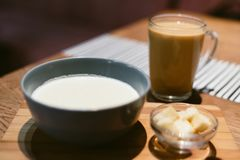 cheese soup in a coffee shop with coffee stock images