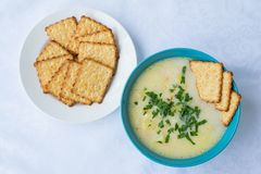 Cheese soup and crackers. Cheese soup with greens and crackers on a white background stock photography