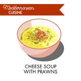 Cheese soup with prawns and fresh greenery in bowl Royalty Free Stock Images