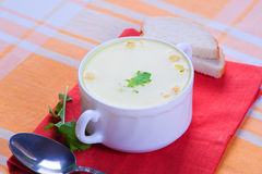 Cheese soup served Royalty Free Stock Photo