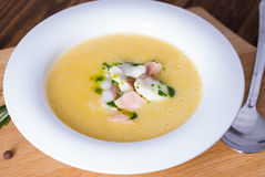 Cheese soup with smoked bacon Stock Photography