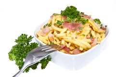 Cheese Spaetzle with fork Stock Photo