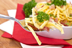 Cheese Spaetzle with portion on fork Stock Photography