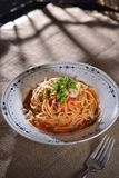 Cheese Spaghetti Bolognese royalty free stock photography