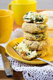Cheese and spinach cakes Stock Photography