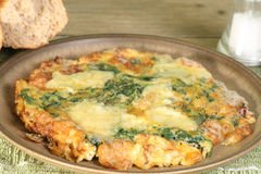Cheese and spinach fritata Stock Image