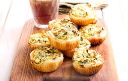 Cheese and spinach mini pies Stock Photo