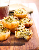 Cheese and spinach mini pies Stock Photos