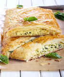 Cheese and spinach pie Stock Photos