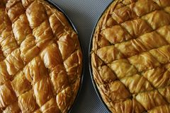 Cheese and spinach pie. Traditional greek Cheese pie close up Stock Images