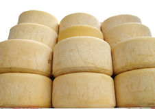 Cheese - stacks of Idiazabal cheese in a market. In the Basque Country Royalty Free Stock Image