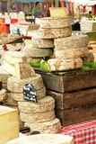 Cheese stand in market of Provence Stock Image