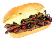 Cheese Steak Sandwich Roll With Red And Green Peppers Stock Photos