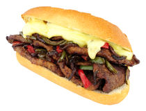 Cheese Steak Sandwich Roll With Red And Green Peppers Royalty Free Stock Image