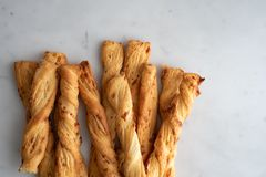 Cheese stick ,Breadsticks with cheese on marble background royalty free stock images