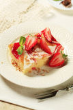 Cheese and strawberry sponge cake Stock Image