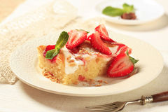 Cheese and strawberry sponge cake Stock Photo