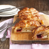 Cheese and strawberry strudel. Royalty Free Stock Images
