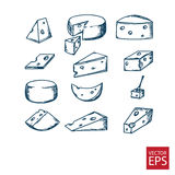 Cheese in the style of doodle Royalty Free Stock Photos