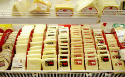 Cheese in supermarket Royalty Free Stock Photos