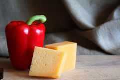 Cheese And Sweet Pepper Stock Images