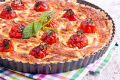 Cheese tart with tomato Stock Photography