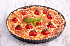 Cheese tart with tomato Royalty Free Stock Images