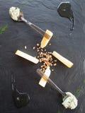 Cheese tasting tray stock photos