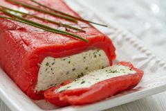 Cheese terrine wrapped with smoked salmon Royalty Free Stock Image