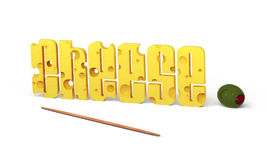 Cheese text with olive. The word Cheese written in letters made out of Swiss cheese over a white background. A toothpick in front and a pimento stuffed olive Stock Photos