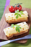 Cheese on toast Royalty Free Stock Images
