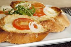 Cheese on toast. Close up of tasty grilled cheese on toast Stock Photos