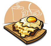 Cheese toast with egg. Cheese toast with fried egg and ham Stock Photos